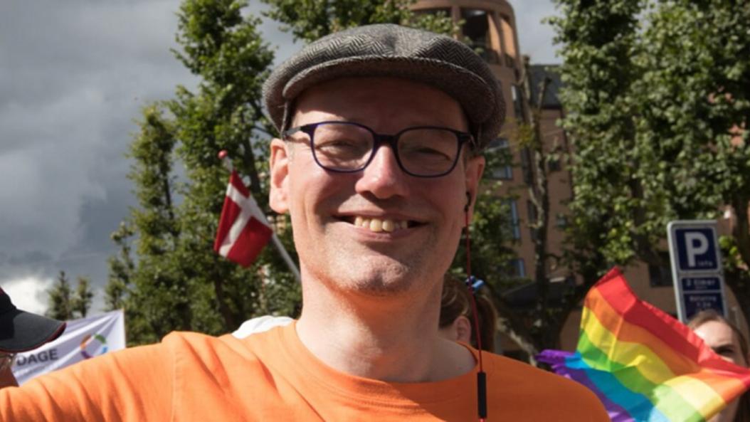 Søren Laursen ved Copenhagen Pride i 2017, hvor han var forperson i LGBT Danmark. Nu er han medstifter af LGBT komiteen.